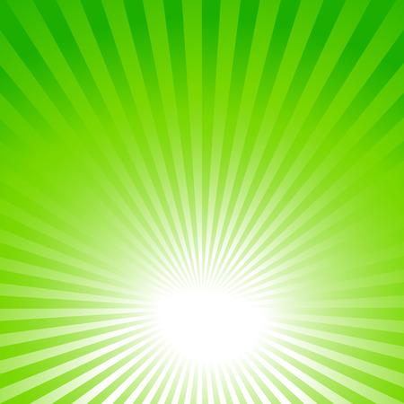 抽象的なグリーン夏背景と太陽光線