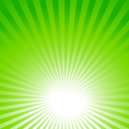 abstract green summer background with sun rays