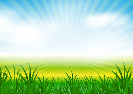 mist: abstract spring background with sun rays, meadow and mist, clouds