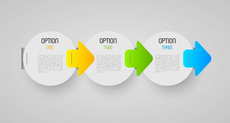 progression: abstract progression circles with option steps and direction arrows, design element