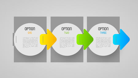 progression: abstract progression tags with option steps and direction arrows, design element