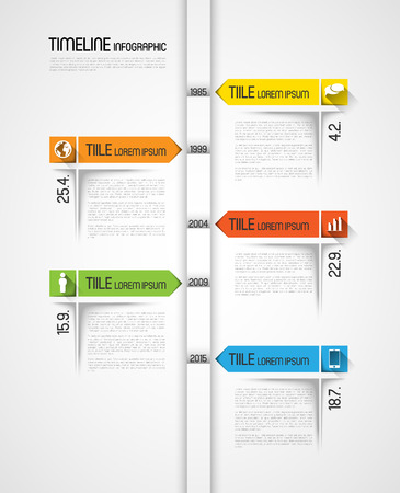 timeline infographic template with icons, flat design effect Ilustrace
