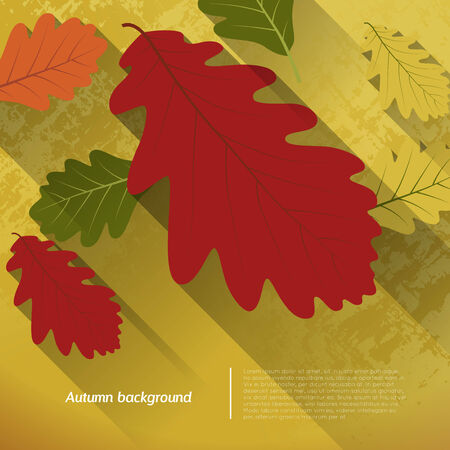 shadow effect: abstract autumn background with oak leafs, flat shadow effect Illustration