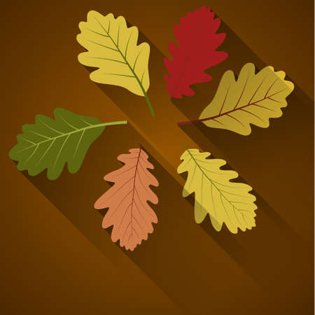 shadow effect: abstract autumn background with colorful leafs, flat shadow effect