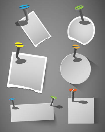 collection of abstract vector paper tags, signs with screws, design element Vector