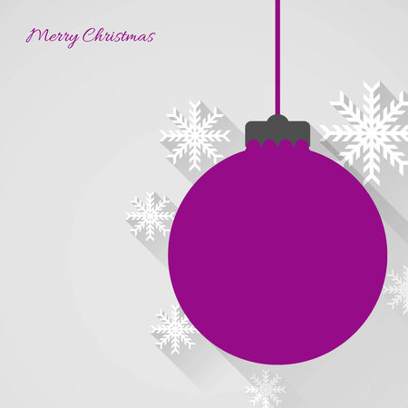 christmas background with christmas ball and snowflakes, flat design Vector