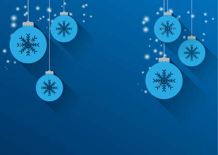 christmas background with christmas balls and snowflakes, flat design Vector