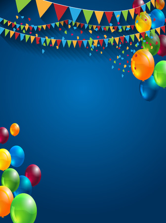 abstract celebration birthday background with colorful balloons, stripes