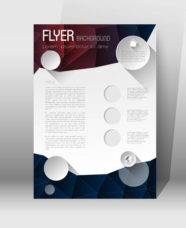 abstract template: abstract poster template, low polygonal design background with circles and icons, flat effect