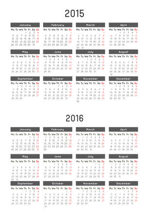 Calendar Template Of Year 2018 And 2019 Royalty Free Cliparts