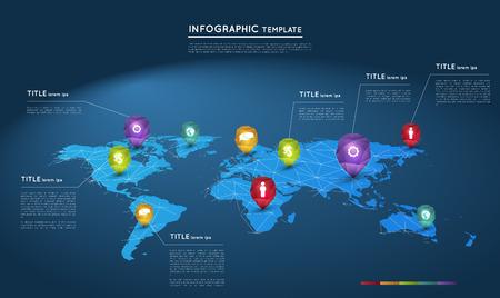 mapa mundi: mapa del mundo con los punteros de cristal abstractos, plantilla infograf�a