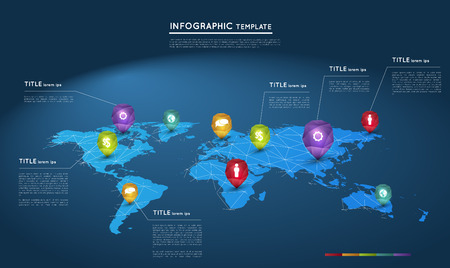 global communication: world map with abstract crystal pointers, infographic template Illustration