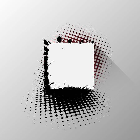 shadow effect: paper square tag with splatters and halftone,  long shadow effect Illustration