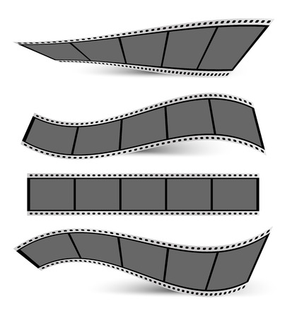 collection of film strips with shadows on a white background