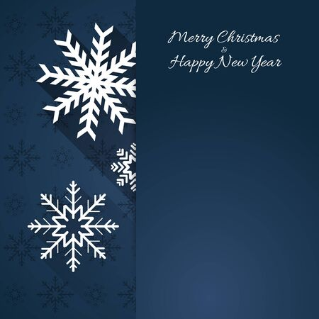 shadow effect: abstract blue christmas background template with falling white snowflakes, flat shadow effect