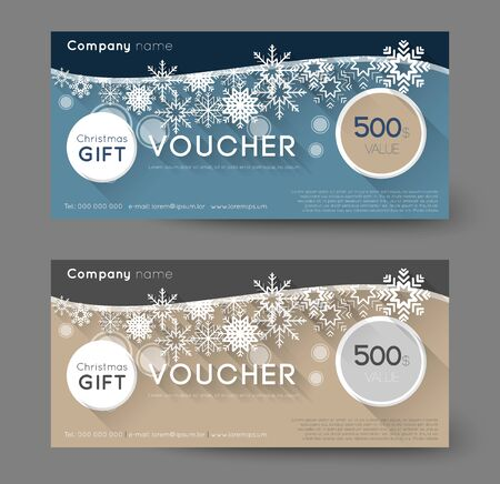 biege: christmas gift voucher with snowflakes, long shadow effect Illustration