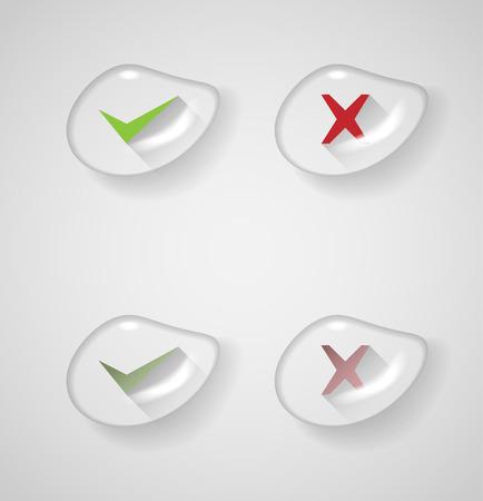watter: right, wrong sign symbol set inside watter drop Illustration