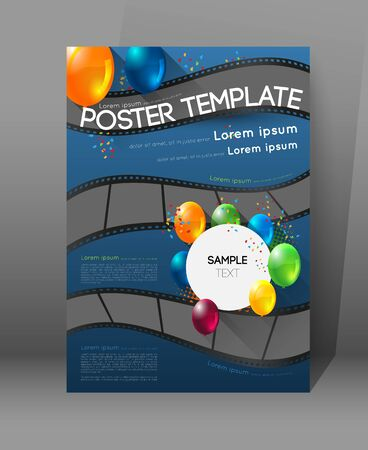 movie poster: abstract movie poster template with film strips and colorful balloons