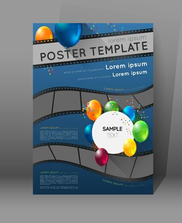 cine: abstract movie poster template with film strips and colorful balloons