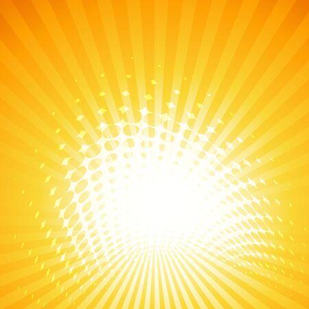 sfondo estivo estivo con raggi di sole e effetto mezzetinte Vettoriali
