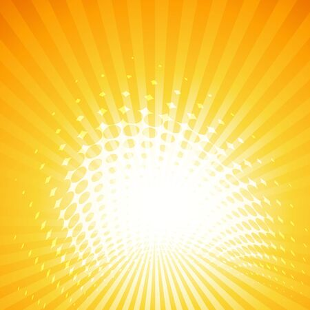 abstract summer background with sun rays and halftone effect