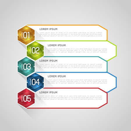 Computer instruction: option infographic banners with crystal polygons, graphic design template