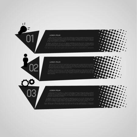 gradation art: black retro option banners with halftone effect Illustration