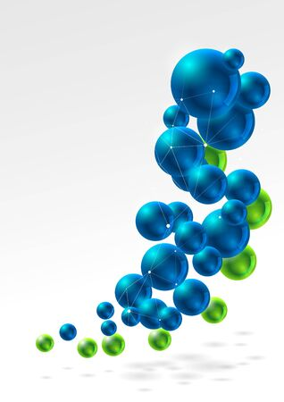 Abstract background, group of glossy spheres connected with wired shapes Illustration