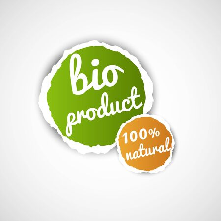 abstract bio product tag with torn paper effect