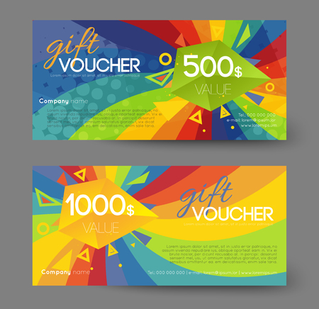 Gift voucher template, colorful rainbow swirl effect Stock Vector - 87770309