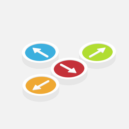 isometric direction colorful arrows buttons