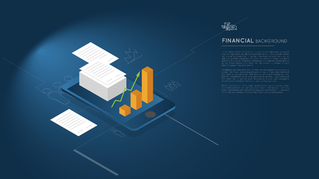 financial background concept, contracts with charts on blue smartphone