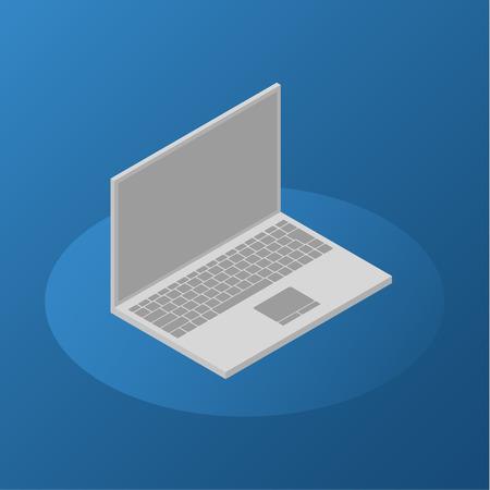 isometric laptop icon on blue background Illustration