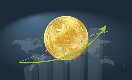 gold bitcoin on blue background with graphs rising arrow and world map