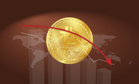 gold bitcoin on red background with graphs falling arrow and world map