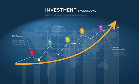 Investment background. Rising arrow with graphs and colorful crystal pointers