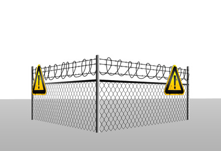 abstract caution background with fence and danger signs