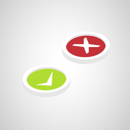 isometric right, wrong, green and red sign symbol set