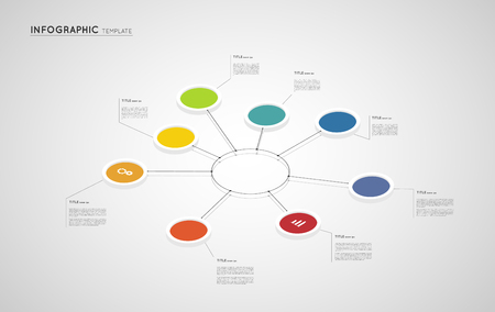 infographic colorful template, isometric cennected circles