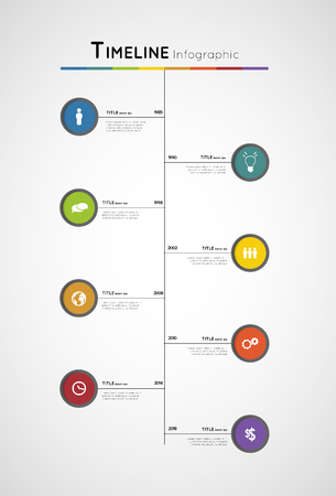 colorful timeline infographic template with circles and icons