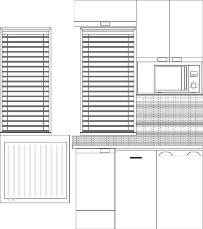 small kitchen interior with furniture and kitchen appliances front view Ilustrace