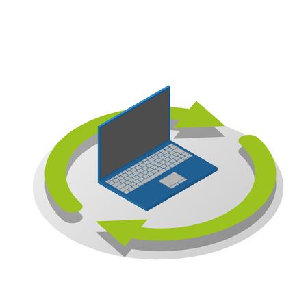 isometric laptop icon, data transfer