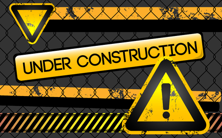 abstract caution background with danger sign and tag under construction Ilustrace