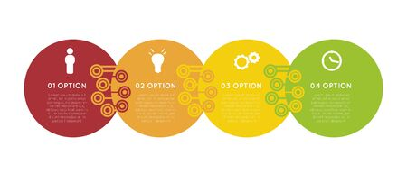 colorful progress option banners, infographic template