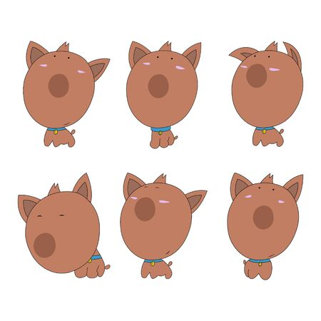 Collection of cute cartoon dogs Mascot Set. Vector illustration