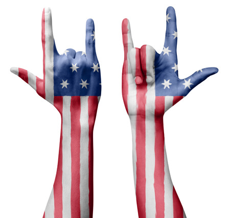 Hands making I love you sign, USA United States of America flag painted, multi purpose concept - isolated on white background, illustration.