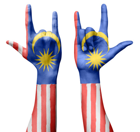i love you sign: Hands making I love you sign, Malaysia flag painted, multi purpose concept - isolated on white background, illustration. Stock Photo
