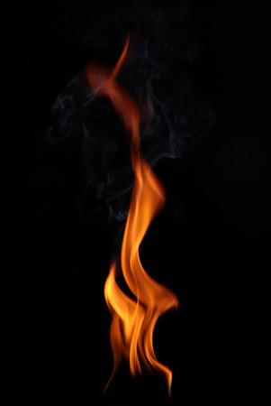 black and red: Fire flames on a black background Stock Photo