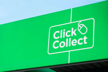 Click collect online shopping green sign for quick easy delivery