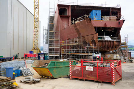 Shipbuilding industry steel ship construction for ferry business at Port Glasgow Stock Photo